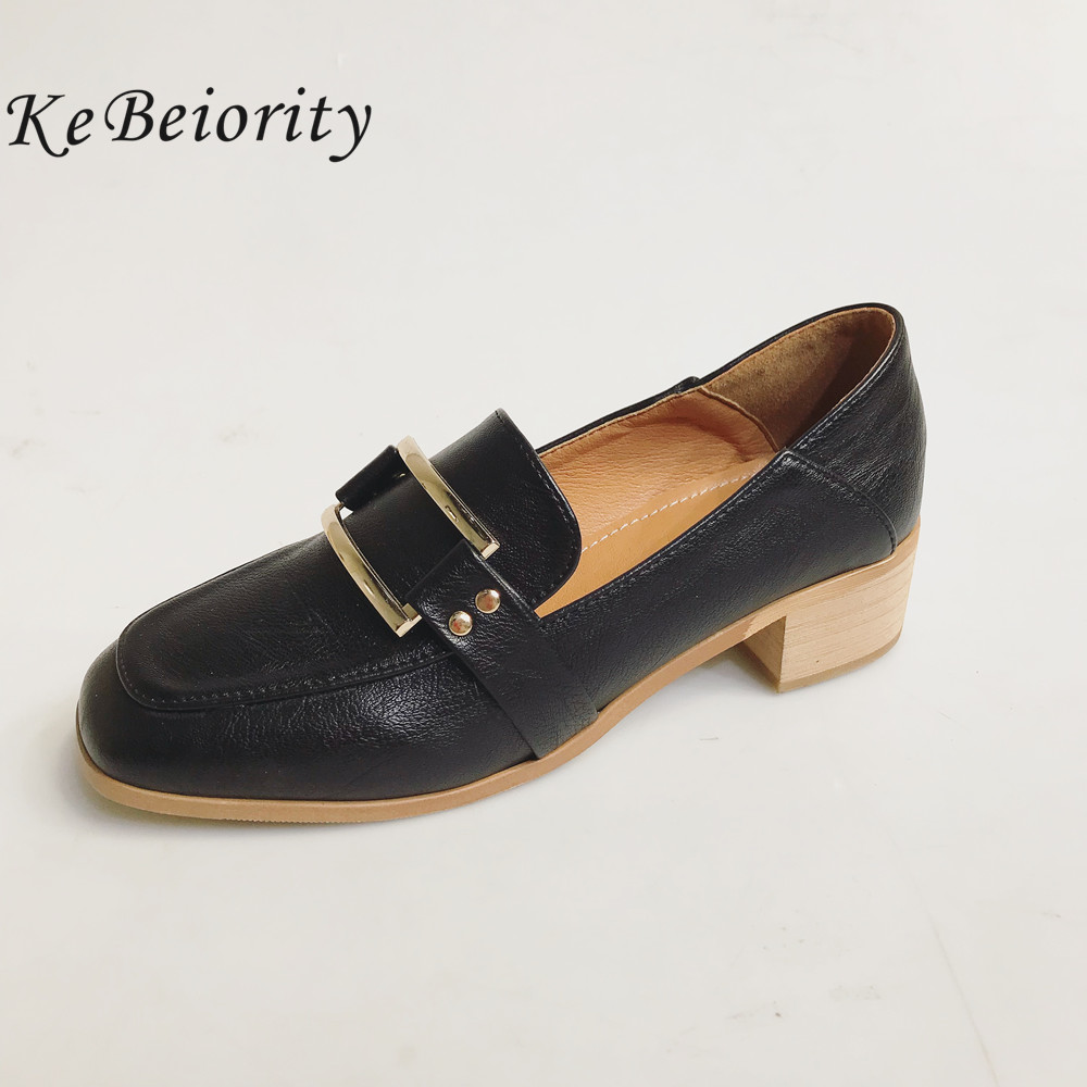 KEBEIORITY Spring Autumn Shoes Women Square Toe Pumps Shoes Chunky High Heels Mary Jane Causal Ladies Thick Heel Shoes 2018