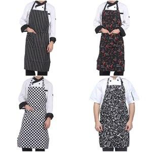 Image 4 - מטבח יוניסקס סינרי מתכוונן שחור פס סינר סינר עם 2 כיסים שף מטבח לבשל כלי לגבר אישה