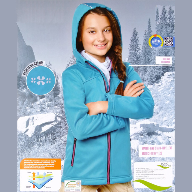 Autumn Winter Girls Outdoor Jackets Waterproof Windproof Long Sleeve Hoodies age 6 8 10 11 12 14 years