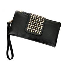 Yfashion Woman Leather Rivet Female American and European Style Clutch Wallets Bag For Women 2019