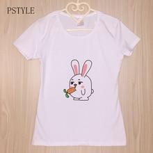 Summer Tshirt For Womens Harajuku Kawaii Bunny Printed Funny T shirts Cartoon Short Sleeve Simple Design Casual Basic White Top