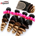Brazilian Ombre Hair With Closure Loose Wave 3PCS 1b/4/27 three tones Ombre Human Hair  Weave Bundle With ombre Lace Closure
