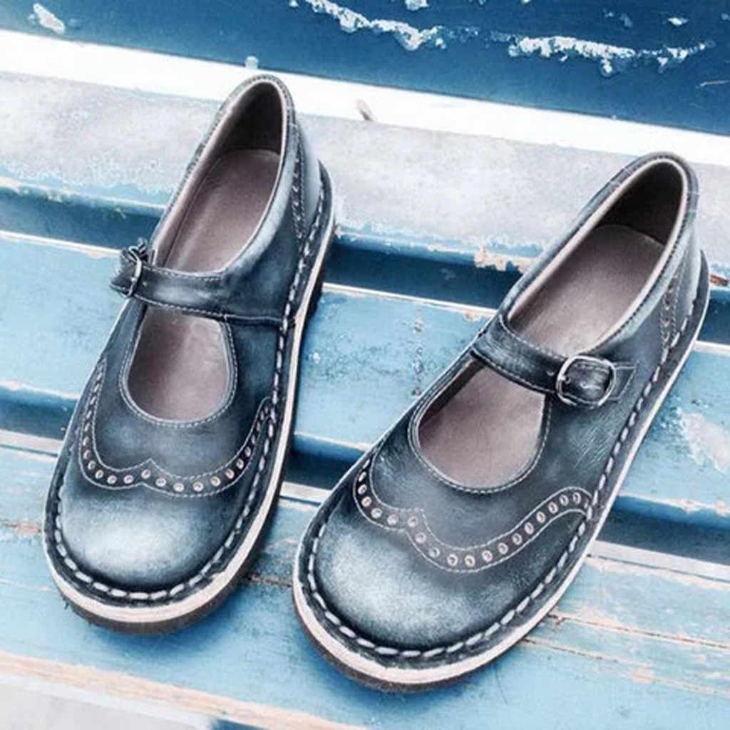 Giày sandal Đế Phẳng Dẹt Khóa Dây Đi Biển Cổ Giày Đơn La Mã Giày Sandal sandalias mujer 2019 Piel genuina # G69