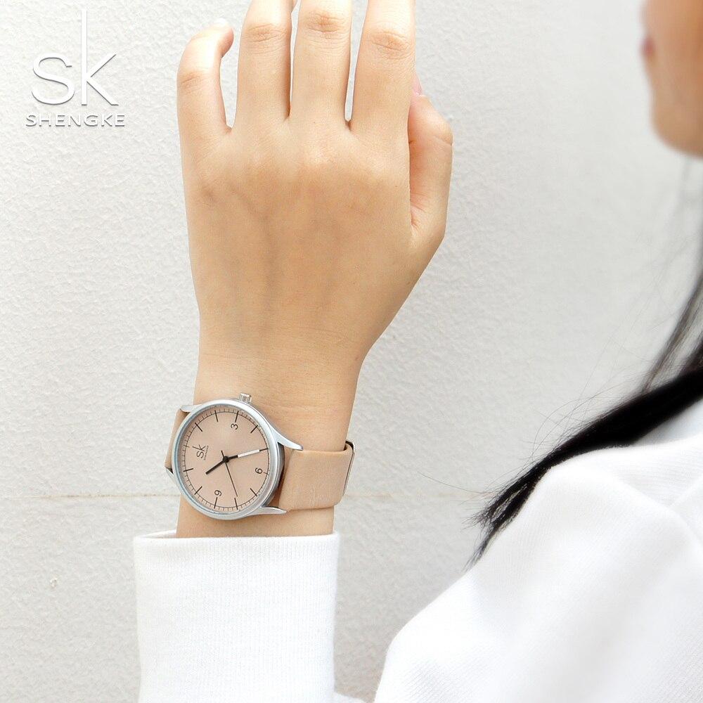 Image 3 - Shengke Лидирующий бренд, кварцевые часы для женщин, Повседневная мода, японский механизм, кожа, аналоговые наручные часы, минималистичный дизайн, Relogio подарокЖенские часы   -