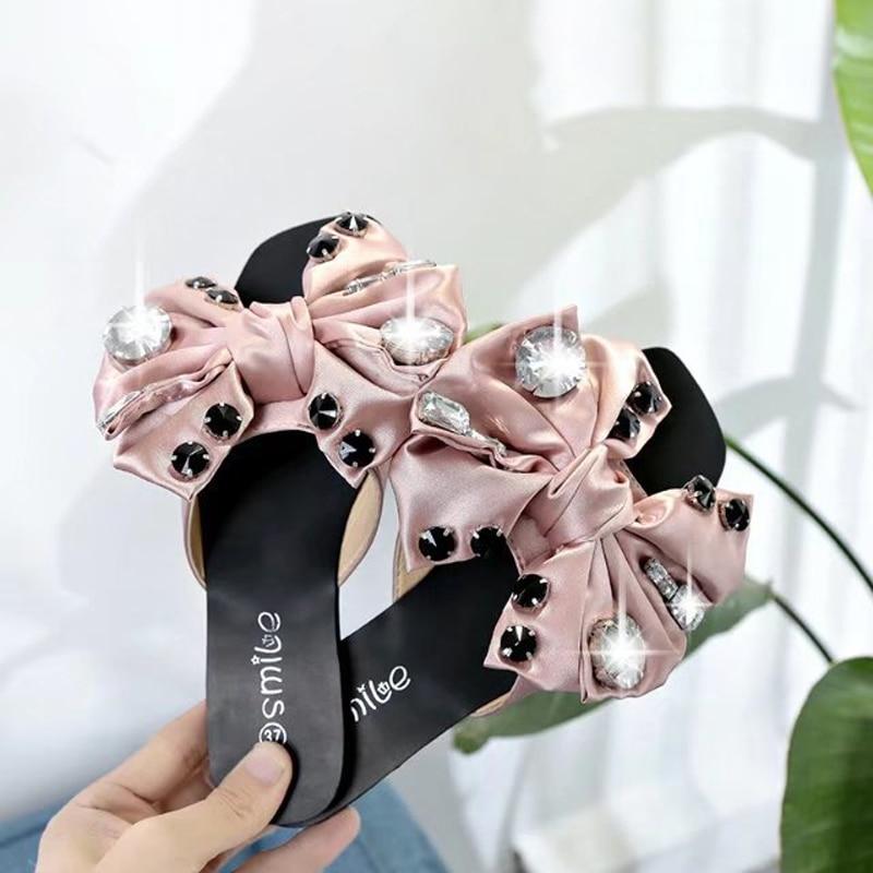 Sandalias Seda Big nudo rosado Playa gris Zapatillas Mujer plata Rhinestone Bow Plana Diapositivas Arco De Flipflops Rosa Zapatos Negro Bow 5awx4tfq