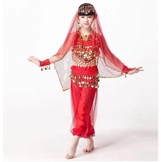 2018 Designer Indian Bollywood Dancing 5-piece Set Coins Headpiece, Top, Belt and Pants Sequin Sleeves Kids Belly Dance Costumes 1
