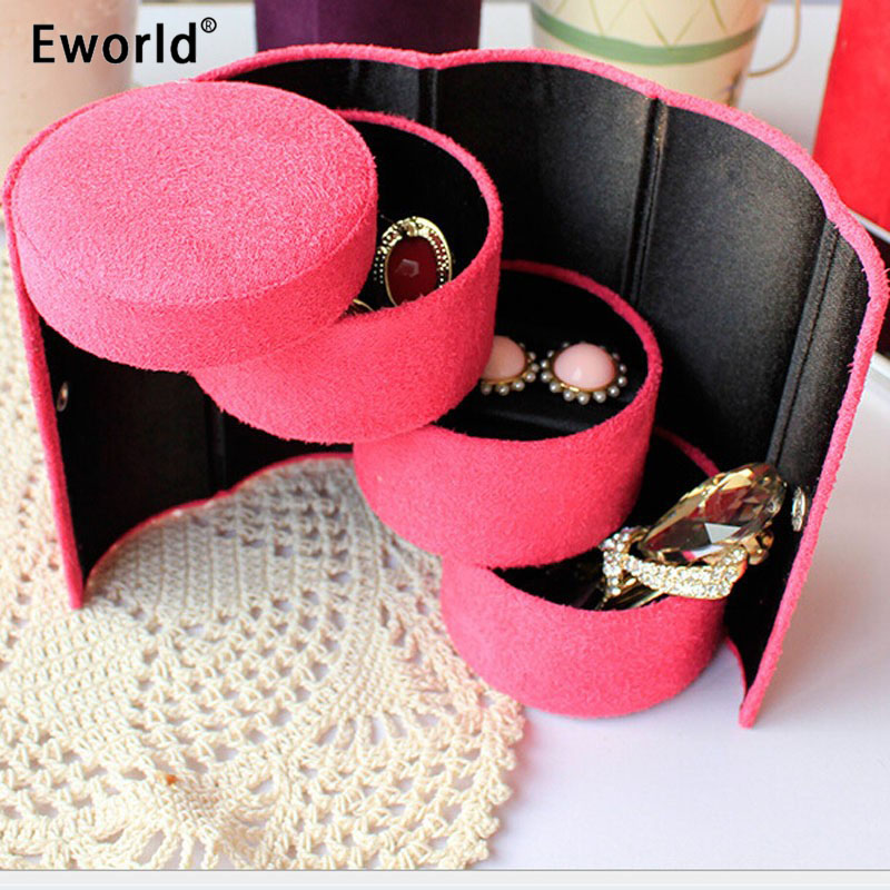 Eworld Useful 3 Layers Jewelry Box Accessories Cylinder Cases Necklace Earring Jewelry Holder Organizer Boxes Hot Selling|organizer box|cylinder casebox box - AliExpress