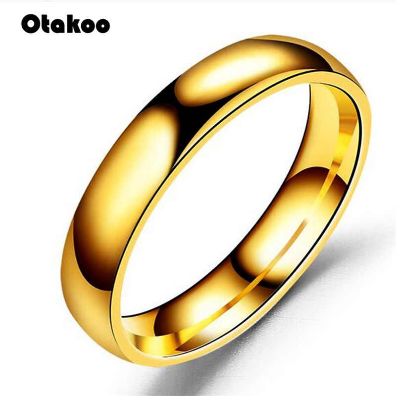 Otakoo Trơn Đơn Giản Thép Không Gỉ Bạc, Nhẫn Nhẫn Nhẫn Đôi Nhẫn Cặp Trang Sức Thời Trang Nữ Phụ Kiện Anillos Mujer