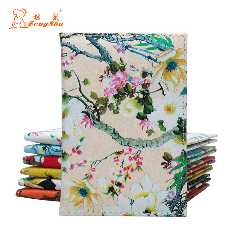 Brand Quality Floral Printing on The Passport Case Bag Fashion Travel Passport Cover for Women Pu Leather Passport Holder Wallet