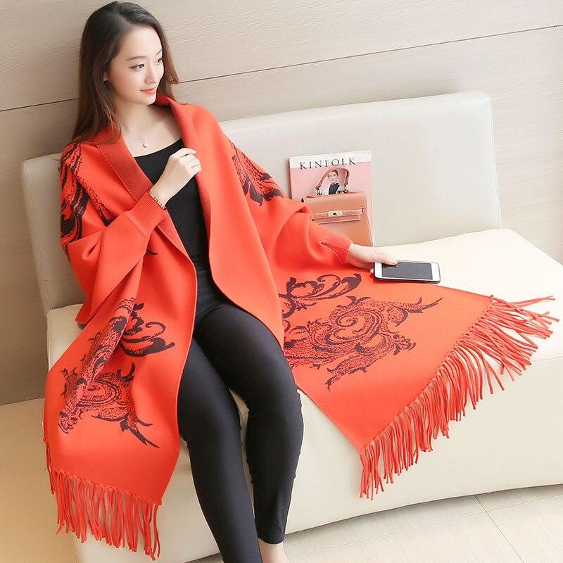 2017 Winter Plus Größenflügel Poncho Frauen Gestrickte Overlack Pullover Druck Gestrickte Cardigans Pullover Mit Quaste