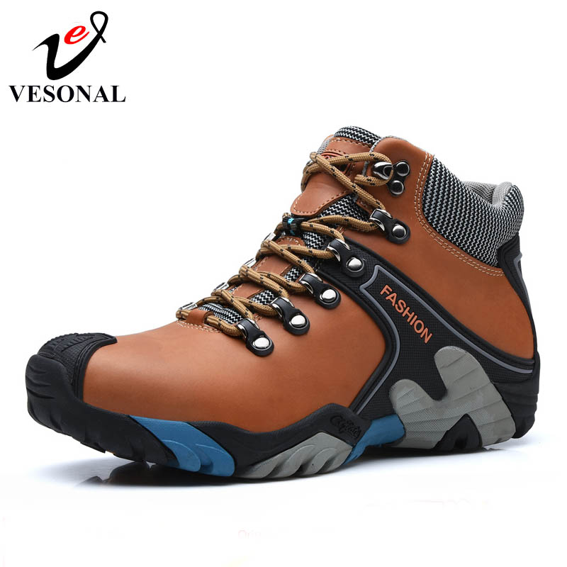 VESONAL PU Leather Ankle Boots Winter Warm Fur Snow Boots Male Shoes Adult Sneakers For Men