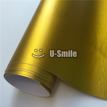 Premium Matte Gold Chrome Brushed Vinyl Folie Film Bubble Free For Car Wrapping image