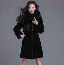 Fashion Women Sheep Shearing Fur long trench 100% Leather Coat Mink collar Fur Magic Cold resistant Genuine leather sheepskin