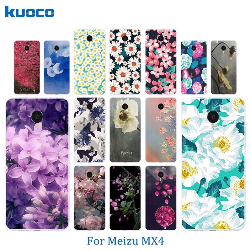 Телефонные Чехлы для Meizu MX4 Мода 5.36 дюймов В виде ракушки Ясно Мягкий силиконовый backcovers кожи ультра тонкий Blossom узор Coque