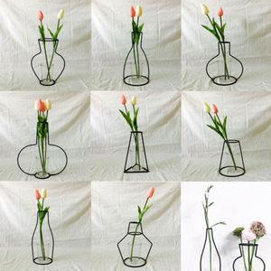 Image 1 - Creative Art Style Retro Iron Line Flowers Vase Metal Plant Holder Modern Solid Nordic Styles Iron Vase Home Art Garden Decor