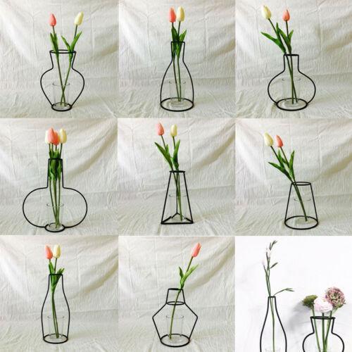 Creative Art Style Retro Iron Line Flowers Vase Metal Plant Holder Modern Solid Nordic Styles Iron Vase Home Art Garden Decor