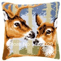 Two Deer  2016  Needlework Kit Unfinished Acrylic Yarn Embroidery Pillow Tapestry Canvas Cushion Front Cross Stitch Pillowcase