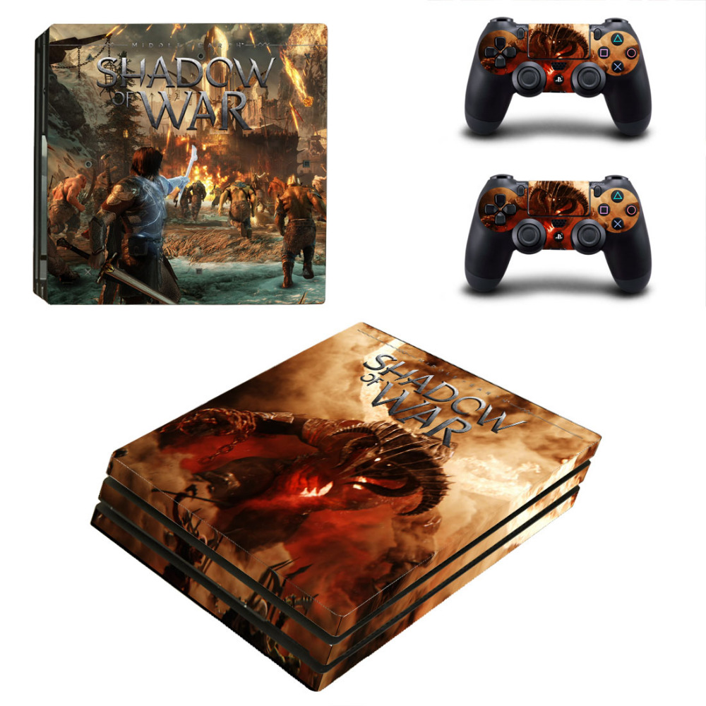 Game Shadow of War PS4 Pro Skin Sticker Decal for Sony PlayStation 4 Console and 2 Controller Skin PS4 Pro Skin Sticker Vinyl