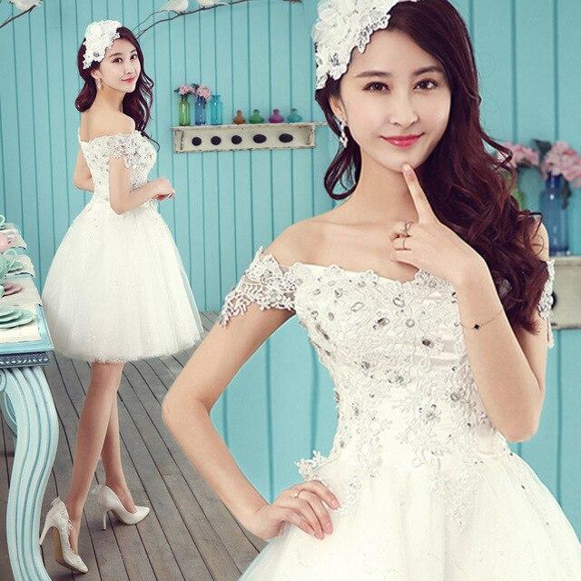 Fashion Summer Short Wedding dress 2014 Slit Neckline Sweet Princess ...