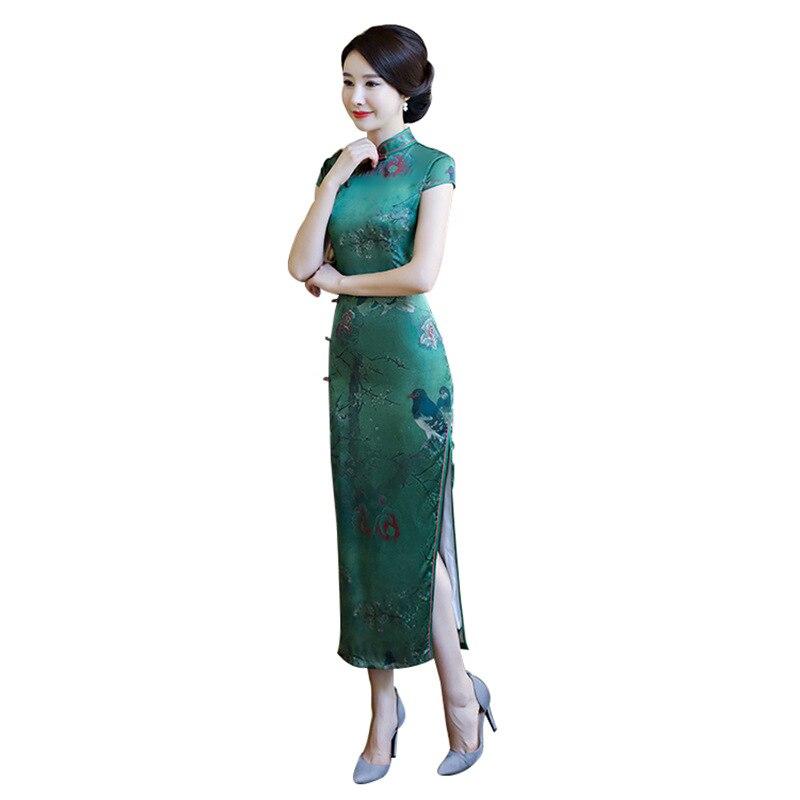 Summer New High Quality White Rayon Mandarin Collar Cheongsam Chinese Classic Print Qipao Flower Sexy Long Dress M-3XL