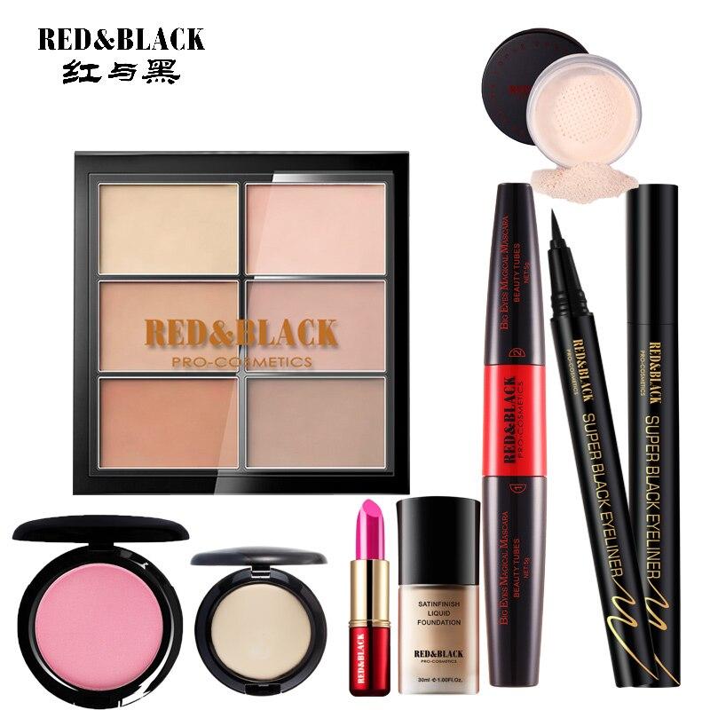 Red & Black Make Up Tool Kit 8 stks Moisturizer Lipstick Matte Langdurige Lippenstift Foundation Concealer Wenkbrauwpotlood Eyeliner