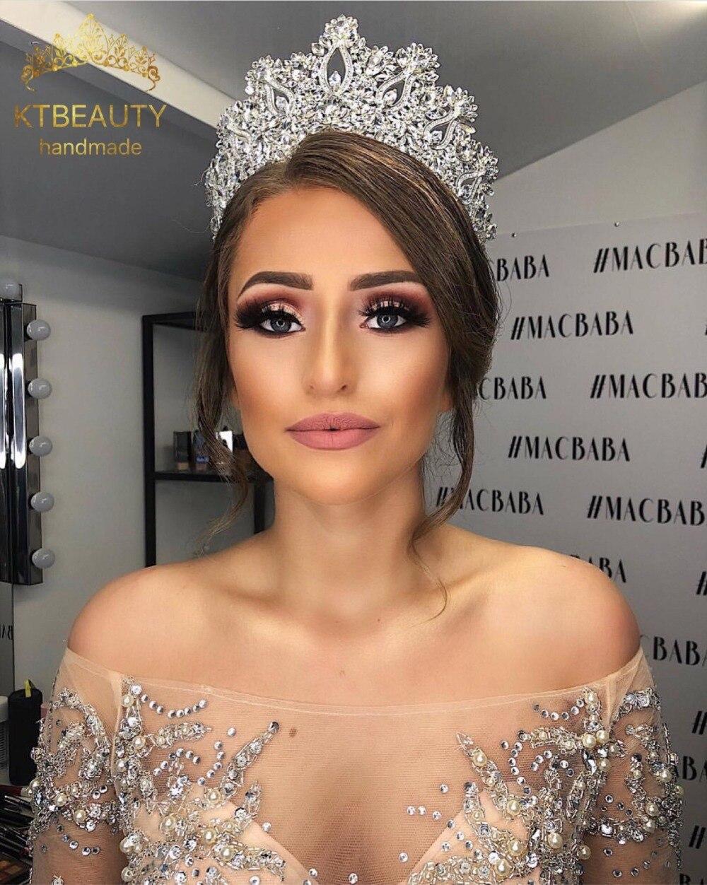DHL libre de Lujo + Zircon corona Tiara de plata/de oro más grande corona de diamantes de imitación real de la princesa de la Reina de la fiesta concurso corona las damas de honor