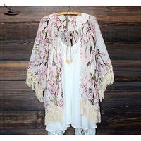 2017 New Japan Traditional Style Vintage Casual Autumn Tassel Floral Print Loose Chiffon Women Japanese Kimono