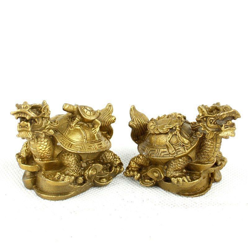 Chinese Pure Brass Carved Dragon Turtle Dominated Furnishing Articles Mascot Small Statue 2 Pcs