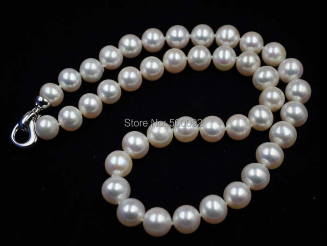 stunning 10mm white cultured freshwater real pearl necklace free shipping