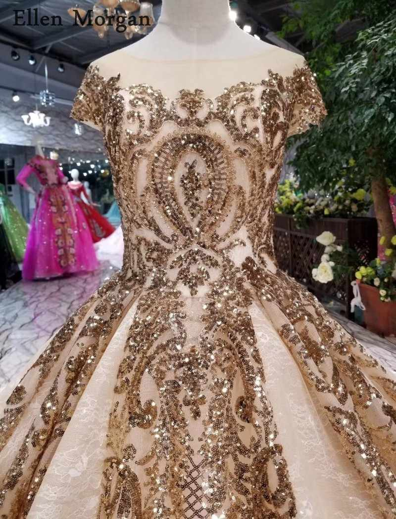 Золото кружево бальные платья свадебные 2019 лодка средства ухода за кожей Шеи Часовня Поезд реальные фотографии блеск индивидуальный заказ