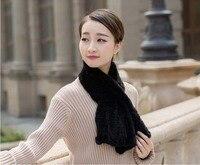 Women's Real Mink Fur Scarves Black Fashion Warm Winter