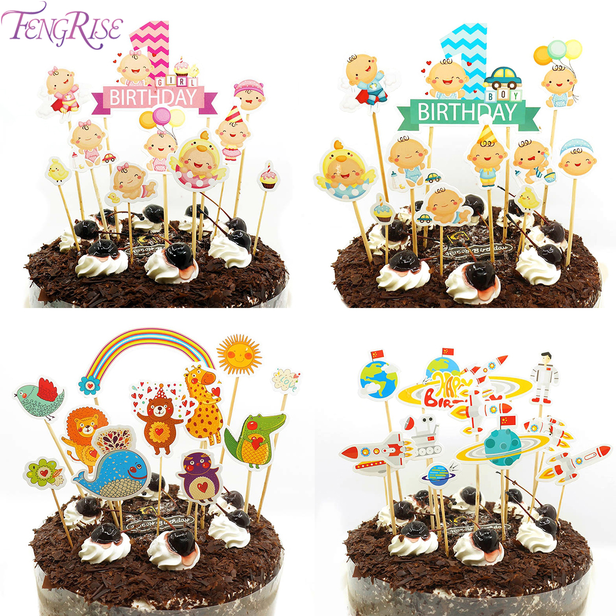 FENGRISE Happy Birthday Party 1st Cake Toppers Cakes One Year Decorating Baby Boy Girl Shower