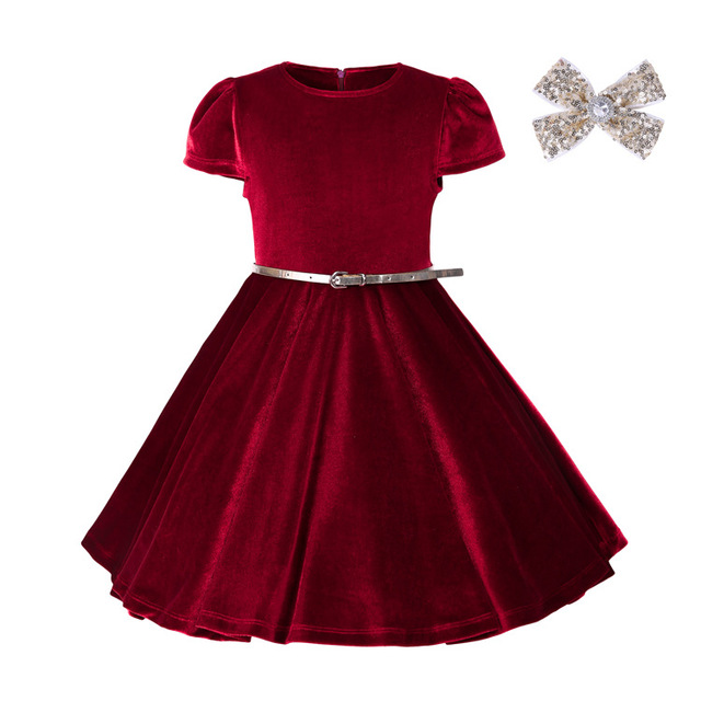 Everweekend Kids Girls Princess Ruffles Velvet Party Dress