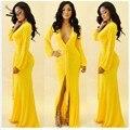 2014 Новые Моды для Женщин Платье V-образным Вырезом Длина Пола Желтый Повседневная Полный Рукавом Вечер Хлопок Макси Лонг 35