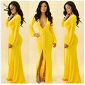 2014 New Fashion Women Dress V-neck Floor Length Yellow Casual Full Sleeve Evening Party Cotton Maxi Long 35