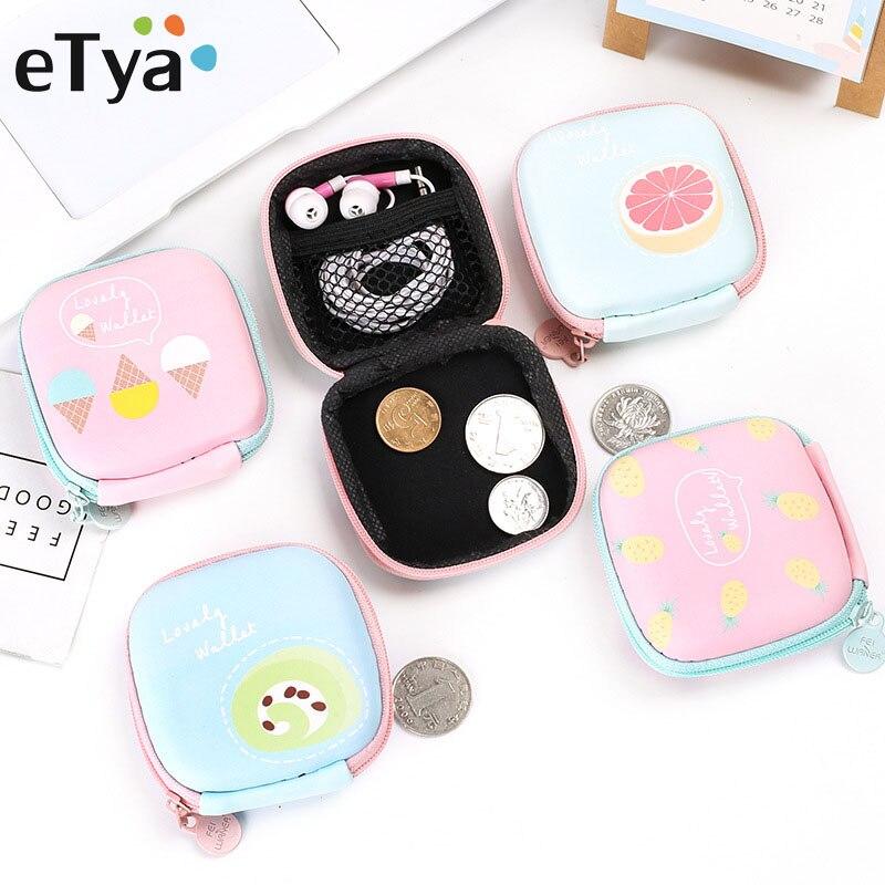 ETya Cartoon Women Coin Purse Small Wallet Cute Headset Bag Kids Female Change Purse Mini Zipper Coin Key Earphone Line Pouch