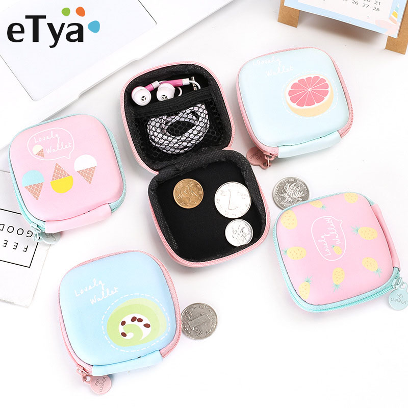 ETya Cartoon Women Coin Purse Small Wallet Cute Headset Bag Kids Female Change Purse Mini Zipper Coin Key Earphone Line Pouch