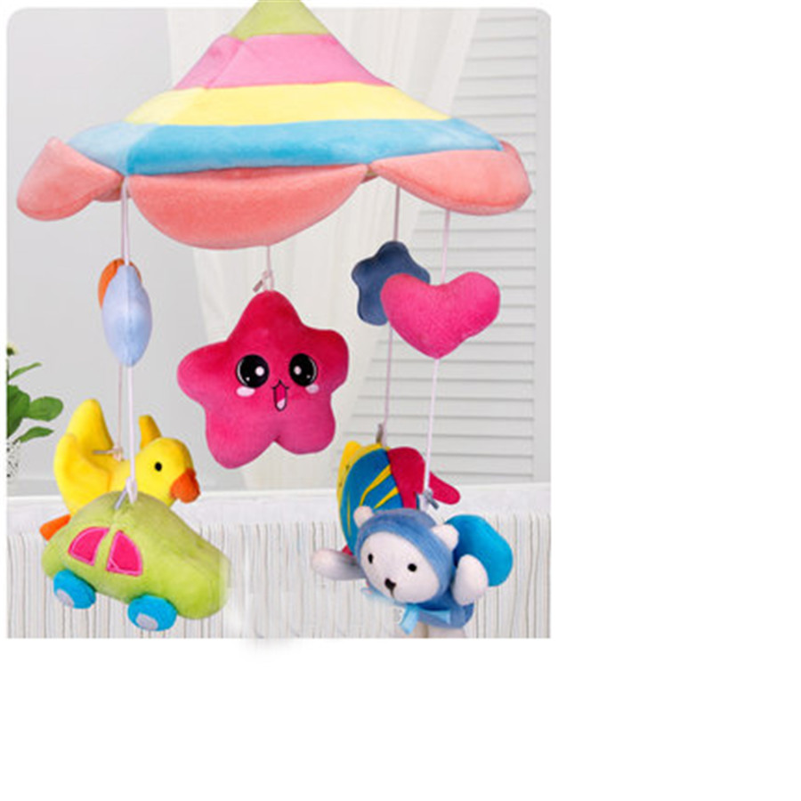 Baby Music Toys Electronic Bed Bell Crib Plastic Rattles 0-12 Months Plush Animal Bear Miniature Dolls Toys For Newborns 503920 newborn baby bed rotary music bell toy baby stroller toy rattles accessories pendant