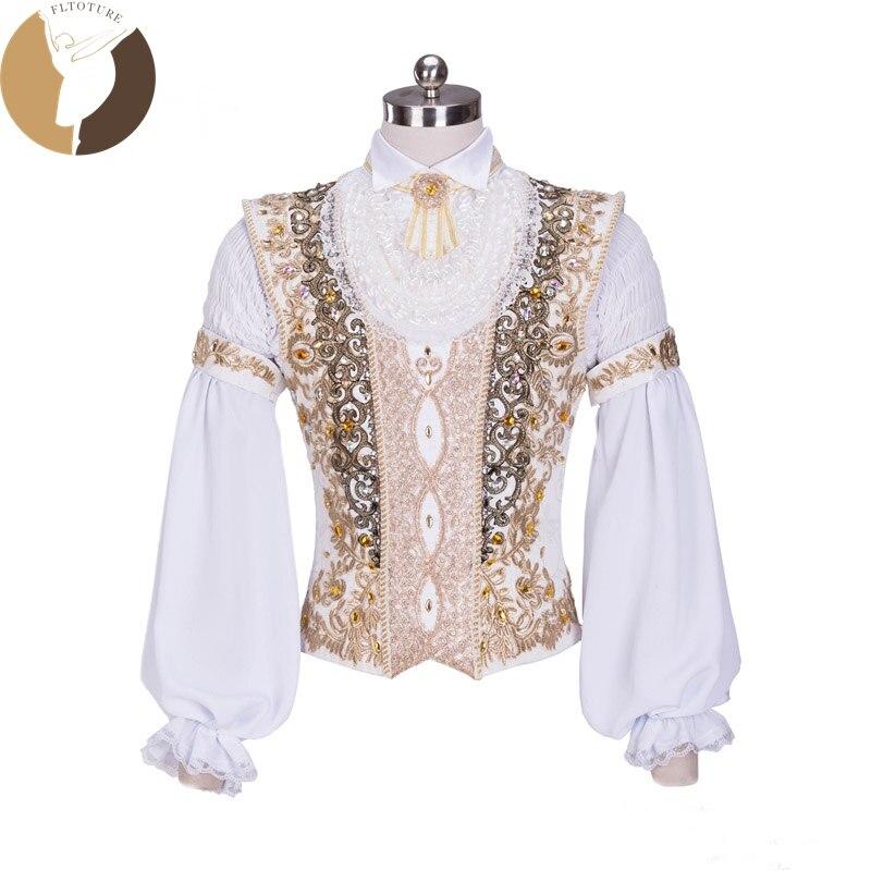 FLTOTURE M012 Hommes Tunique Ballet Cotumes Garçon Outwear Classique Ballet prince Veste En Mousseline de Soie Blanc Couleur Homme Tuniques Custom Made