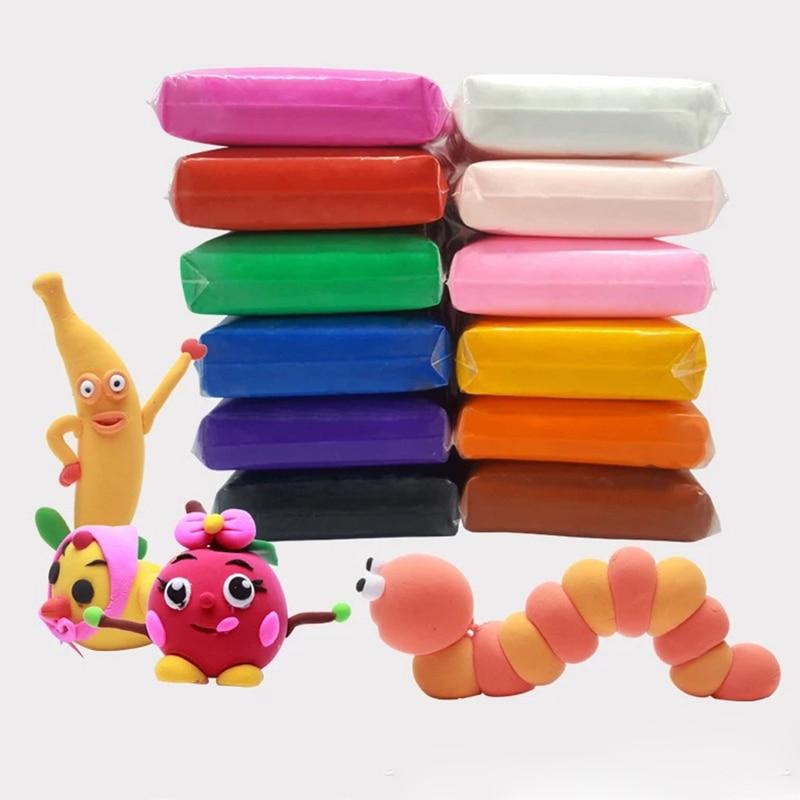 12 Color/set Light Clay Air Dry Polymer Plasticine Modelling Clay Super Light DIY Soft Creative Handgun Educational Clay Toys