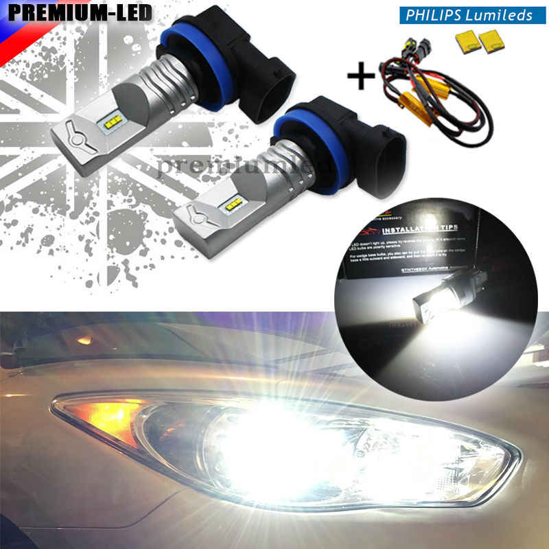iJDM 6000K White Powered By Luxen LED H11 H8 H9 H16(JP) Bulbs For Fog Lights Driving Lamps+ Error Free Canbus Decoders