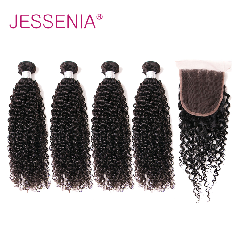 JESSENIA HAIR 4 Bundles With Closure Brazilian Curly Human Hair Weave Remy Hair Extensions Bundles Natural Color Hair Free Ship