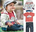 2015 New Baby meninos roupas Set outono europeu estilo americano Outerwear Hoodies casaco + camiseta + calça Jeans meninos roupas 3 pcs Set