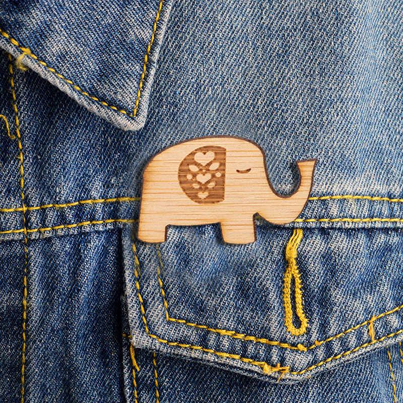 Jisensp Del Fumetto di Mickey Elephant Fox Mappa Zaino Spille In Legno Animale Risvolto Spille Pulsante Distintivo Creativo Regalo per le Ragazze Le Donne