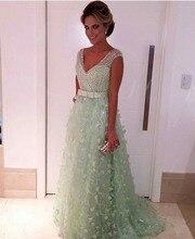 Trendy Grün Sexy v-ausschnitt Prom Kleider Perlen Kristall spitze abendkleider bodenlangen partei abendkleid vestido de festa