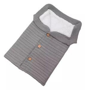 Image 5 - Warm Baby Sleeping Bag Footmuff Infant Button Knit Swaddle Cotton Knitting Envelope  Newborn Swadding Wrap Stroller Accessory