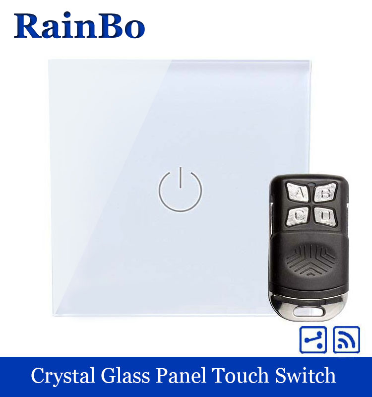 rainbo Crystal Glass Panel Switch EU Wall Switch 110~250V Remote Touch Switch Screen Wall Light Switch 1gang2way  A1914W/BR01 welaik crystal glass panel switch white wall switch eu remote control touch switch light switch 1gang2way ac110 250v a1914w b