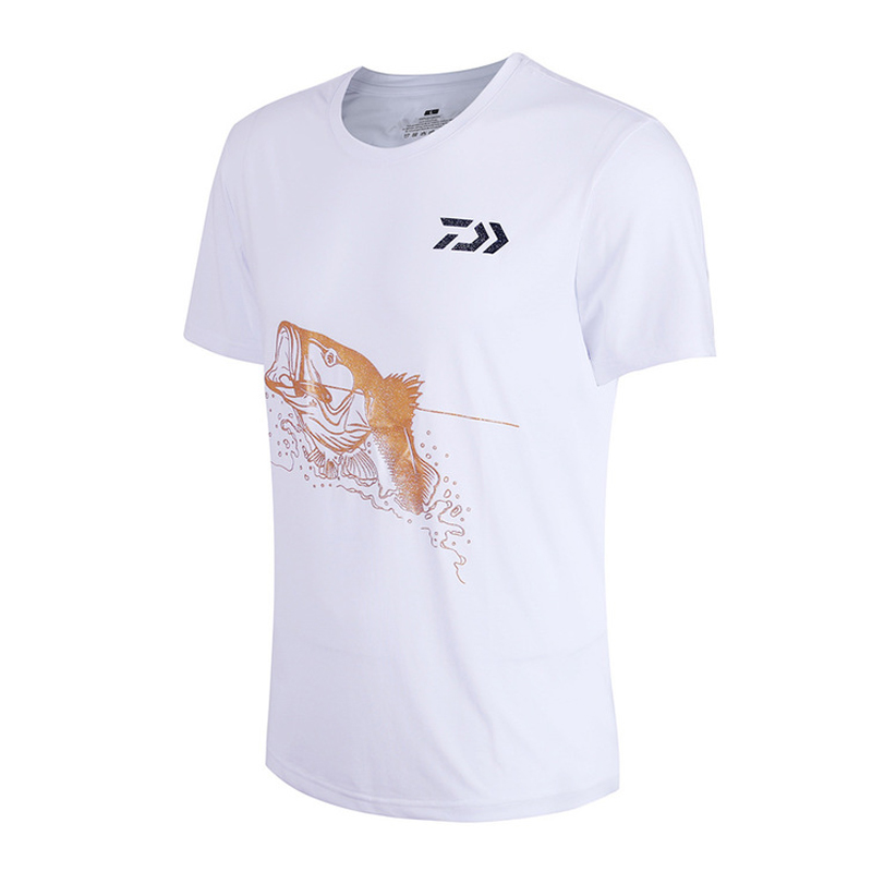 Daiwa Men O Neck Fishing T-shirt Fishing Clothing Black/White Short Sleeve Clothes Anti Uv Breathable Men's Fishing Shirts M-3XL