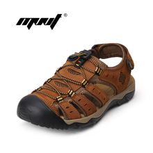 Top Quality Men Sandals Full Grain Leather Men Summer Shoes Casual Outdoor Shoes Zapatillas Breathable Beach Sandals
