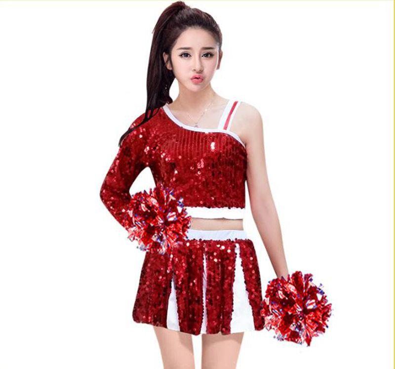 2018 Performance chaude Costume Cheerleading uniformes Football fille Hip Hop vêtements pour femmes couleur rouge